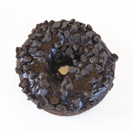 devils food cake chocolate and chocolate chip donut