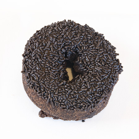 devils food cake chocolate and chocolate spinkles donut