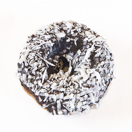 white cake chocolate frosting coconut donut