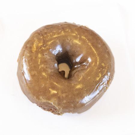 white cake maple donut